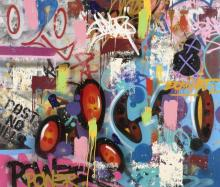 COPE 2 (Fernando Carlo dit) Américain - Né en 1968 Dominate - 2016 Peinture aérosol et acrylique sur toile