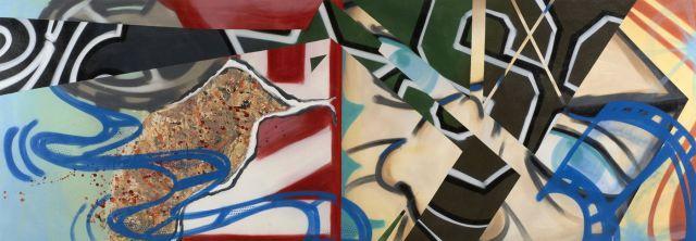 CRASH (John Crash Matos dit) Américain - Né en 1961 Structure #3 - 1988 Peinture aérosol et acrylique sur toile