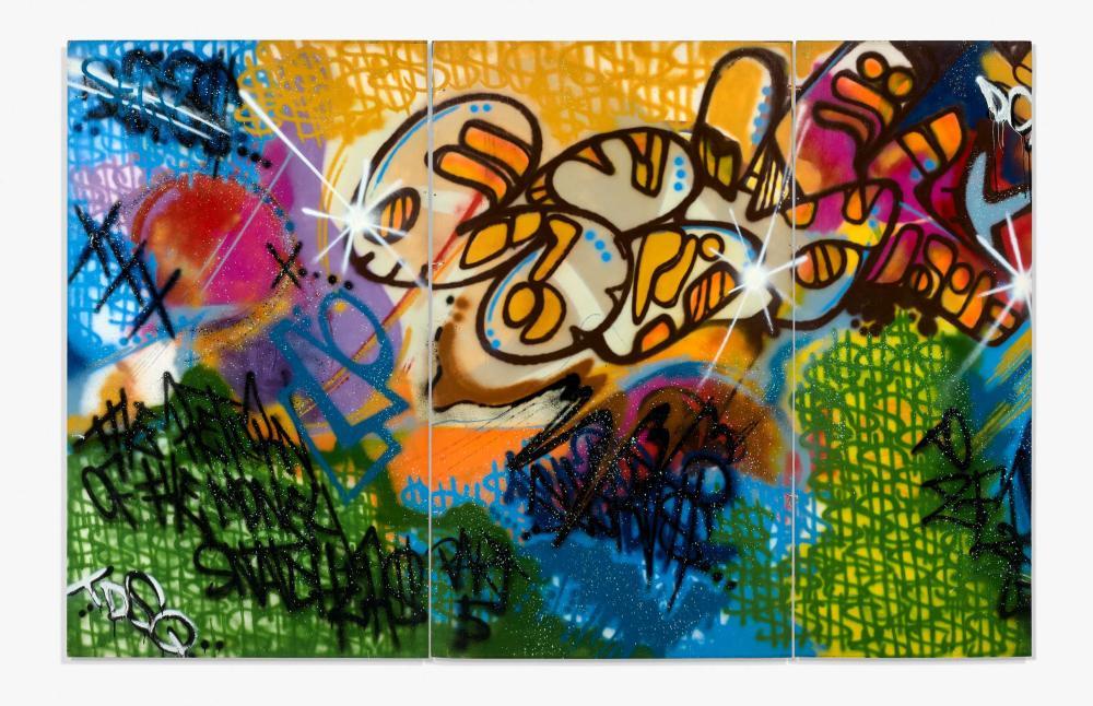 TOXIC Américain - Né en 1965 Return of the money snatchers part 5 - 1989 Peinture aérosol sur trois panneaux de contreplaqué