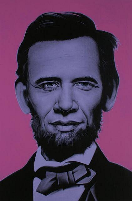 Ron ENGLISH Américain - Né en 1966 Rainbow Abraham Obama - circa 2008 Acrylique et email sur toile