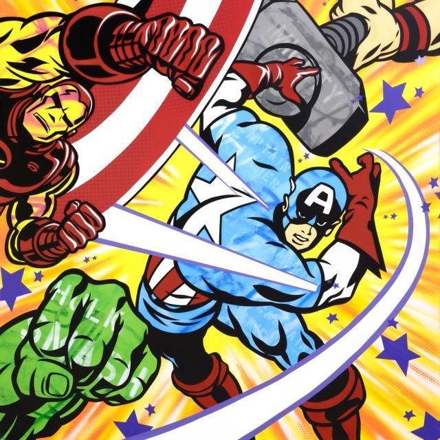 ¤ SEEN (Richard Mirando dit) Américain - Né en 1961 Captain America's shield - 2014 Peinture aérosol et marqueur sur toile
