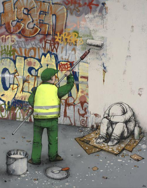 DRAN Français - Né en 1979 Ville propre - 2011 Peinture aérosol, acrylique et marqueur sur toile