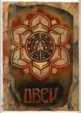 Shepard FAIREY (Alias OBEY GIANT) Américain - Né en 1970 Lotus star (lrg) - 2010 Peinture aérosol, pochoir, matrice et collages sur...