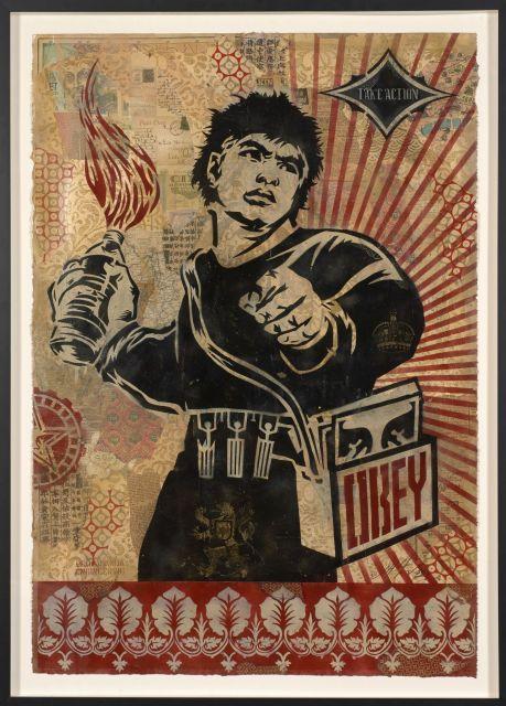 Shepard FAIREY (Alias OBEY GIANT) Américain - Né en 1970 Obey Molotov - 2005 Pochoir, peinture aérosol et collage sur papier