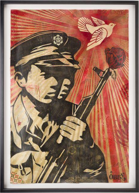 ¤ Shepard FAIREY (Alias OBEY GIANT) (Américain - Né en 1970) Chinese soldiers - 2007 Pochoir, peinture aérosol et collages sur papier