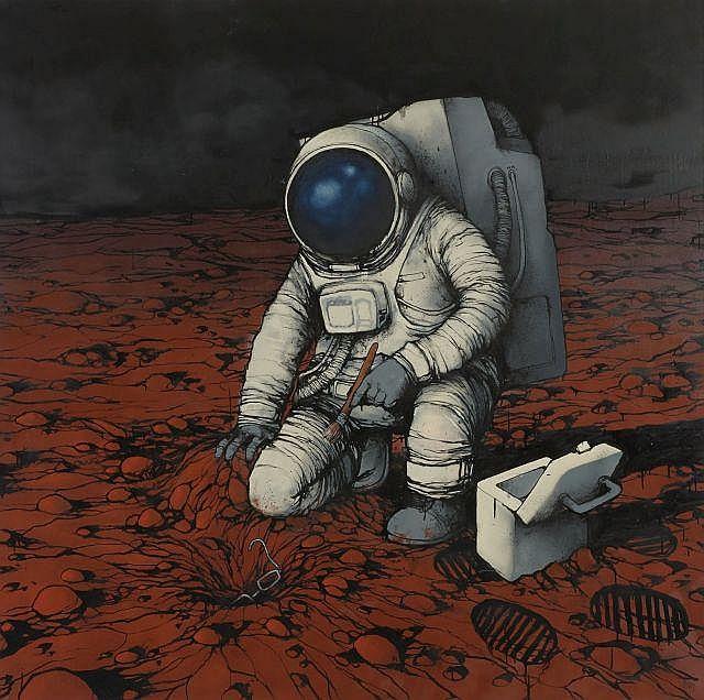 DRAN Français - Né en 1979 Sans titre (il y a eu de la vie sur Terre) - 2009 Peinture aérosol, acrylique et marqueur sur toile