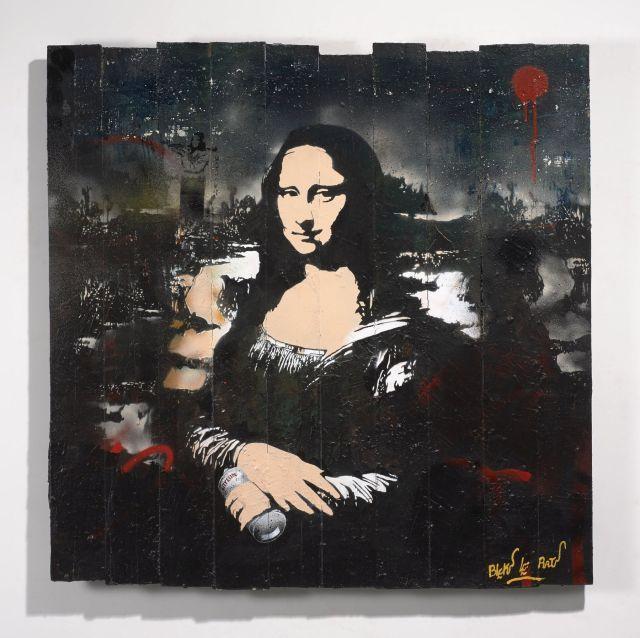 BLEK LE RAT Français - Né en 1951 Mona Lisa - 2015 Pochoir, peinture aérosol et acrylique sur panneau de bois