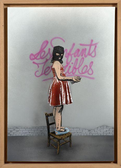 Nick WALKER Anglais - Né en 1969 Les enfants terribles - 2014 Pochoir et peinture aérosol sur toile