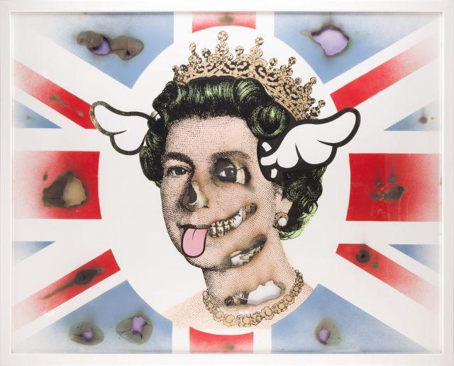 ¤ D*FACE (Anglais) Her Royal Hideousness - 2014 Peinture aérosol et encre sérigraphique sur deux feuilles de papier