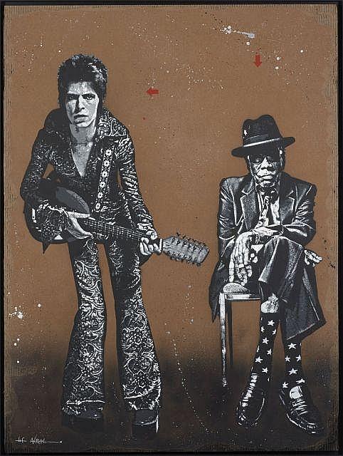 JEF AEROSOL Français - Né en 1957 Ziggy & John Lee - 2016 Pochoir et peinture aérosol sur carton