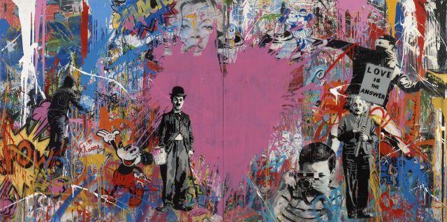 ¤ MR. BRAINWASH Français - Né en 1966 Juxtapose - 2016 Acrylique, pochoir, peinture aérsosol et collage sur 2 panneaux de bois