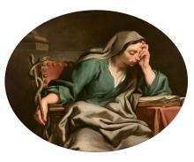 Jean-François de TROY Paris, 1679 - Rome, 1752 La Prudence Huile sur toile, de forme ovale