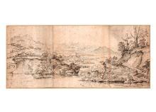 Giovanni Francesco GRIMALDI, dit Il Bolognese Bologne, 1608 - Rome, 1680 Paysage fluvial boisé Plume et encre brune, sur trois feuil...
