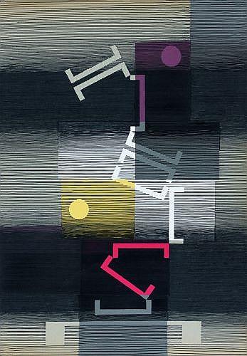 Michel SEUPHOR (1901 - 1999) CALME ET CAPRICIEUX, 1972 Encre et collage sur carton