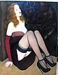 Paul LAURENZI Femme assise Huile sur toile 72 x 60 cm.  YVEL Le Modèle et Femme au collier de boutons Paire d'huiles s...