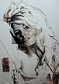 Natacha TOUTAIN Brigitte Bardot Technique mixte sur toile signée en bas à gauche 130 x 97 cm.