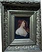 Ecole française du XIXe Femme rousse en buste Huile sur panneau 13 x 9,5 cm  L'EMPEREUR Portrait de brunette Huile sur...