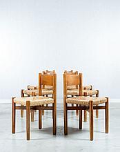 Charlotte PERRIAND (1903 - 1999) Suite de six chaises dites