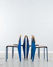 ¤ Jean PROUVE (1901 - 1984) Suite de quatre chaises mod. Métropole 305 dites