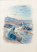 Etienne DINET (1861 - 1929) LES LAVANDIERES Aquarelle et gouache sur papier