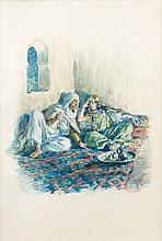 Etienne DINET (1861 - 1929) LES AMOUREUX A L'HEURE DU THE Aquarelle et gouache sur papier