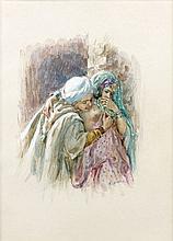 Etienne DINET (1861 - 1929) LES AMOUREUX Aquarelle et gouache sur papier