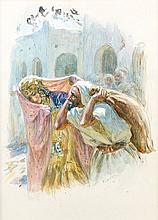 Etienne DINET (1861 - 1929) LE DEPART DES AMOUREUX Aquarelle et gouache sur papier
