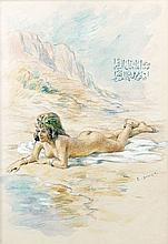 Etienne DINET (1861 - 1929) NU AU BORD D'UNE RIVIERE Aquarelle et gouache sur papier