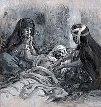Etienne DINET (1861 -1929) AUTOUR D'UN MOURANT, 1901 Huile sur carton