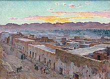Etienne DINET (1861-1929) COUCHER DE SOLEIL, LAGHOUAT Huile sur toile