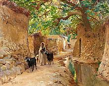 Eugène GIRARDET (1853 - 1907) CHEMIN DANS L'OASIS D'EL KANTARA Huile sur panneau