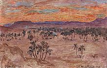 Alexandre ROUBTZOFF (1884-1949) TATAHOUINE Huile sur toile marouflée sur cartonHuile sur toile marouflée sur carton