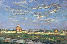 Emmanuel de LA VILLEON 1858 - 1944 PLAINE PICARDE - 1942 Huile sur carton