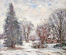Emmanuel de LA VILLEON 1858 - 1944 JOUR DE NEIGE Huile sur carton