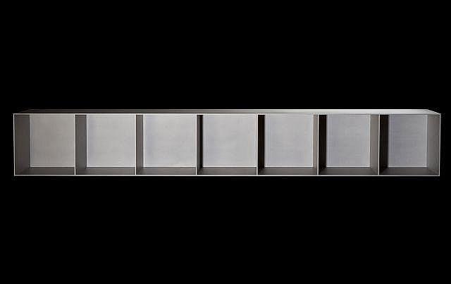 Maarten VAN SEVEREN (1956 - 2005) Rare bibliothèque mod. K7V90 - 1990 Aluminium sablé
