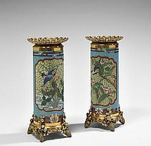 Émile REIBER (1826-1893) & CHRISTOFLE (orfèvre)  DEUX VASES ROULEAU, 1874