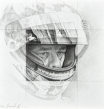 Michel LECOMTE (1935-2011)  Portrait de Sébatien Loeb