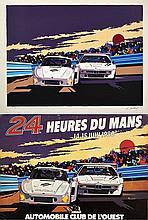 Charles PASCAREL (Né en 1936)  Projet original de l'affiche officielle des 24 Heures du Mans 1980