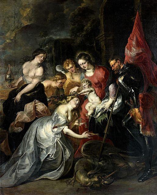 Jan Boeckhorst Münster, 1604 - Anvers, 1668 Saint Georges aux côtés de la Vierge couronnant la fille du roi de Silcha Toile