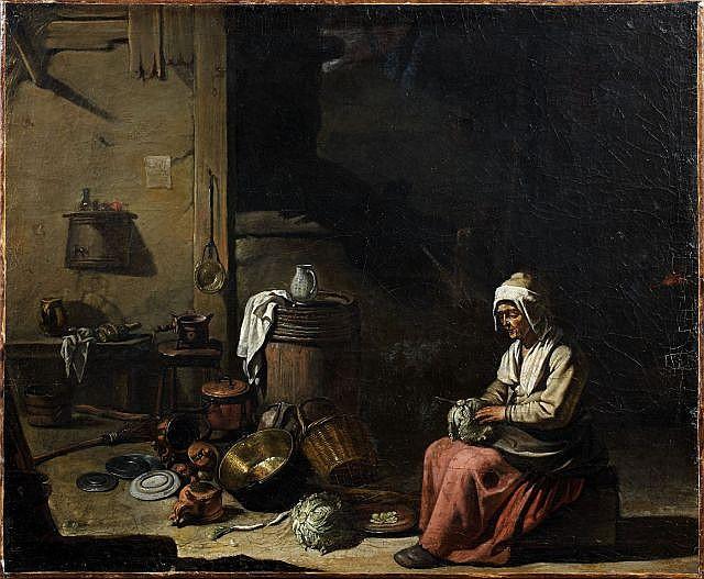 Abraham Willemsens, dit le Maître aux béguins Actif de 1627 à 1672 Vieille femme dans un intérieur de cuisine Huile sur toile