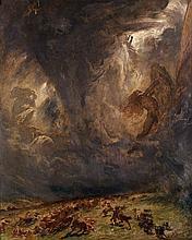 Fernand Cormon Paris, 1845 - 1924 Le combat des Centaures et des Lapithes Huile sur toile (Toile d'origine)