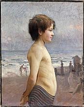 Jules Bastien-Lepage Damvillers, 1848 - Paris, 1884 Jeune garçon sur la plage Huile sur toile (Toile d'origine)