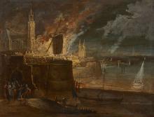 Daniel VAN HEIL Bruxelles, 1604 - 1664 Le sac de la ville d'Anvers Huile sur cuivre
