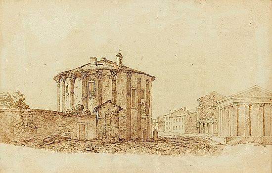 Attribué à Gabriel PERELLE (Vernon-sur-Seine, 1603 - Paris, 1677) TEMPLE DE LA FORTUNE VIRILE ET TEMPLE DES VESTALES Plume et encre...
