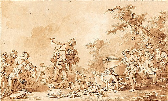 Jacques-Philippe CARESME Paris, 1734-1796 NYMPHES ET SATYRES plume et encre brune, lavis brun