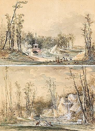 Louis-Gabriel MOREAU dit l'Aîné Paris, 1740-1806 LE JARDIN DE BAGATELLE : LE PONT CHINOIS et LA CASCA...