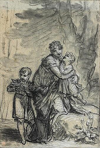 Pierre-Paul PRUD'HON (Cluny, 1758 - Paris, 1823) LA REINE HORTENSE ET SES DEUX ENFANTS DANS UN PARC Crayon noir, estompe, rehauts de..