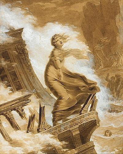 Pierre-Paul PRUD'HON Cluny, 1758 - Paris, 1823 LE NAUFRAGE DE VIRGINIE Crayon noir et lavis brun, rehauts de gouache blanche
