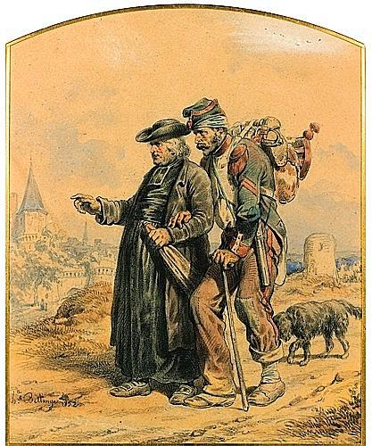 Joseph-Louis-Hippolyte BELLANGE (Paris, 1800 - 1866) 'RETOUR DE CAMPAGNE' Aquarelle sur traits de crayon, rehauts de gouache