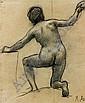 Pierre PUVIS DE CHAVANNES (Lyon, 1824 - Paris, 1898) ETUDE DE FEMME A GENOUX VUE DE DOS Crayon noir et rehauts de craie blanche, Pierre Puvis de Chavannes, Click for value